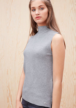 Rib knit vest top with a stand-up collar from s.Oliver