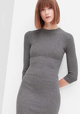 Ribbed dress in blended wool from s.Oliver