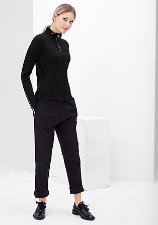 Ribbed knit jumper with zip details from s.Oliver