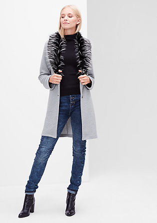 Ribbed sweatshirt jacket with fake fur from s.Oliver