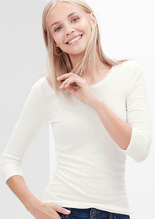 Ribbed top with 3/4-length sleeves from s.Oliver