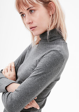Ribbed top with a polo neck from s.Oliver