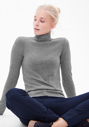Ribbed top with a turtleneck from s.Oliver