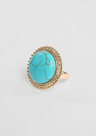 Ring met turquoise-achtige steen
