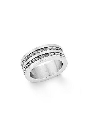 Ring van edelstaal met gedraaide details