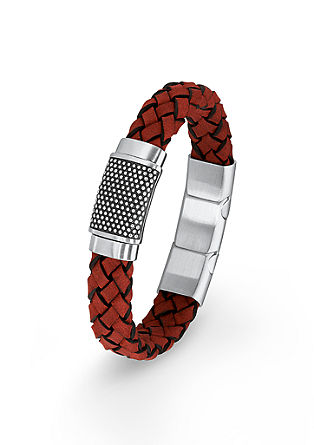 Rode leren armband met edelstaal