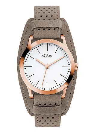 Rosé-Armbanduhr mit Perforierung