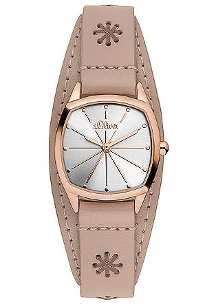 Rosé-Uhr mit Lederapplikationen