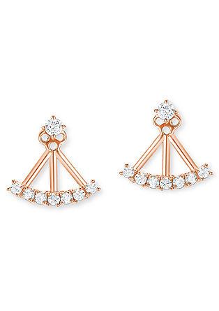 Rožnati dvojni uhani iz srebra