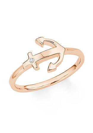 Rožnato pozlačen prstan s cirkoni