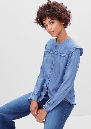 Ruffle blouse in a denim look from s.Oliver