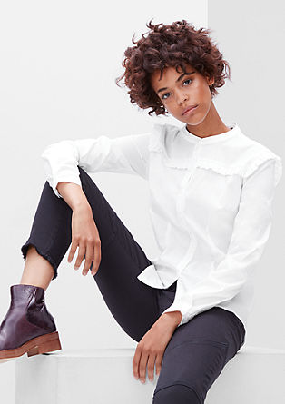 Ruffle blouse made of stretch cotton from s.Oliver