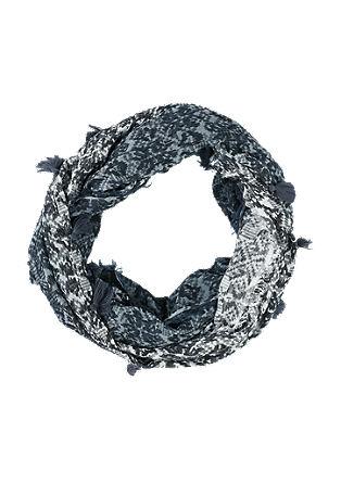 Šal loop s cofki in tkanim vzorcem