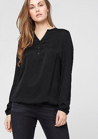 Satenasta bluza z ovratnikom iz džersija