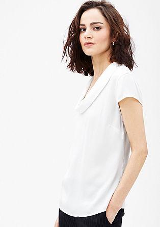 Satijnen blouse met sjaalkraag
