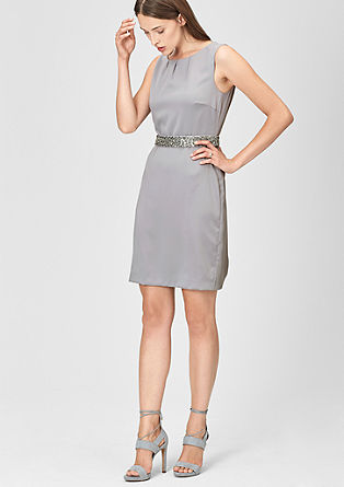 Satin dress featuring a belt with decorative beads from s.Oliver