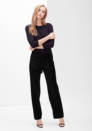 Satin trousers with a tie belt from s.Oliver
