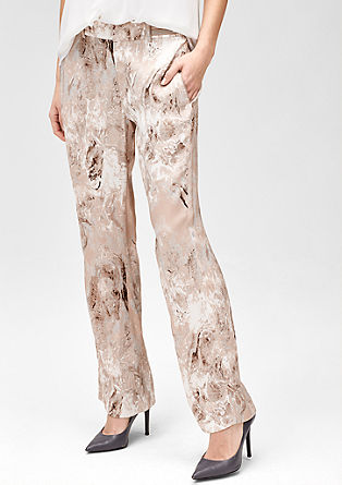 Satin trousers with an all-over print from s.Oliver