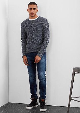 Schmaler Melange-Pullover