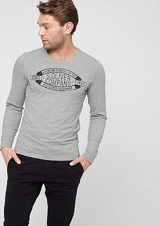 Schmales Shirt mit Label-Banner
