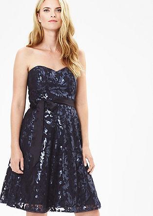 Schoudervrije jurk met pailletjes