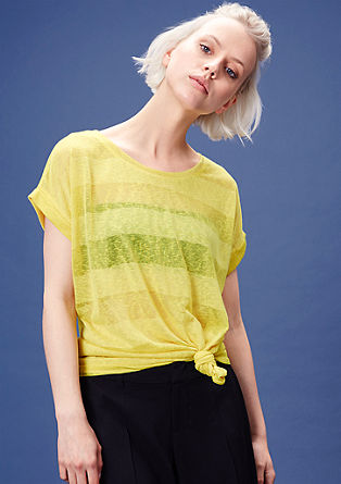 Semi-sheer striped T-shirt from s.Oliver