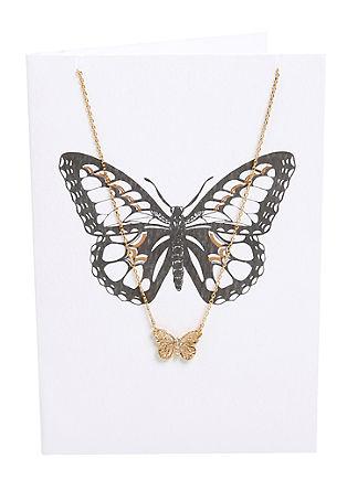 Set: Karte mit Schmetterlings-Kette