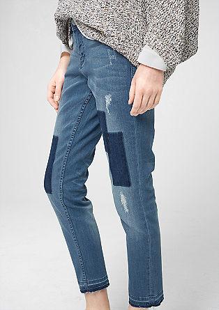 Shape ankle: 7/8-jeans met slijtageplekken