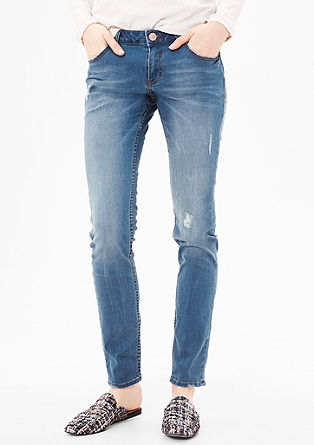 Shape Skinny: denim jeans with distressed details from s.Oliver