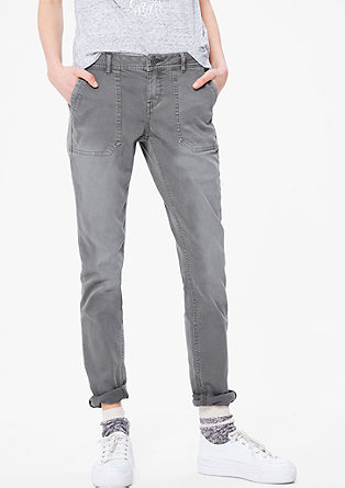 Shape Skinny: twill trousers with a washed finish from s.Oliver