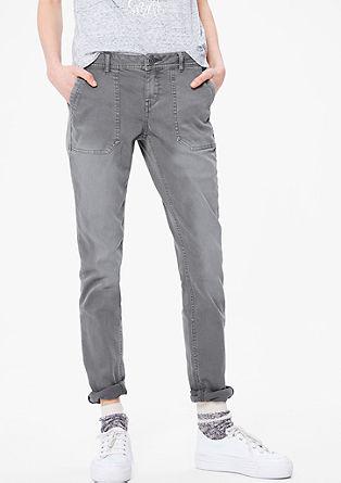 Shape skinny: twillbroek met garment-washed effect