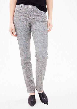 Shape slim: Jeans met een motiefprint