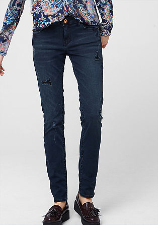 Shape Slim: jeans with distressed details from s.Oliver