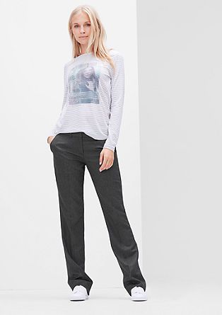 Shape Straight: hlače z vzorcem ribje kosti