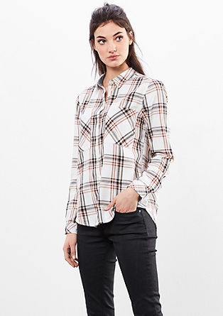 Shirt blouse with a check pattern from s.Oliver