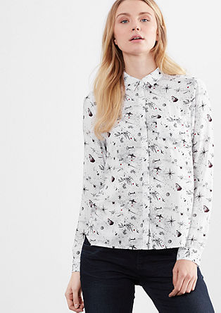 Shirt blouse with a spacy all-over print from s.Oliver