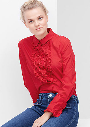 Shirt blouse with frills from s.Oliver