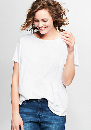 Shirt in een geborduurde look, van slubgaren