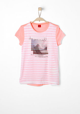 Shirt in een layered look, met fotoprint