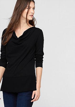 Shirt in een materialenmix shirt met een zoom van chiffon