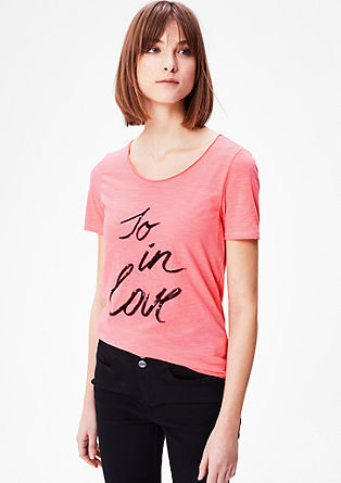 Shirt met ausbrenner motief en teksten