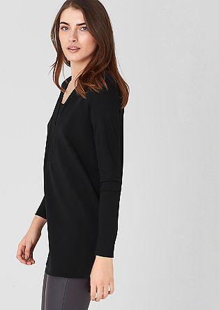 Shirt met een crêpe voorpand en laagje