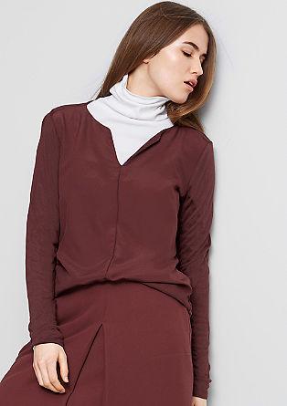 Shirt met een crêpe voorpand