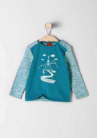 Shirt met een gevlokte tipi-print