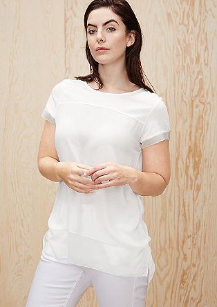 Shirt met een langer rugpand en korter voorpand