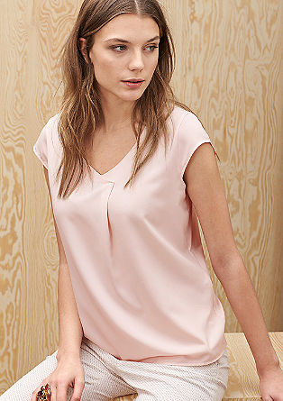 Shirt met een satijnen voorpand