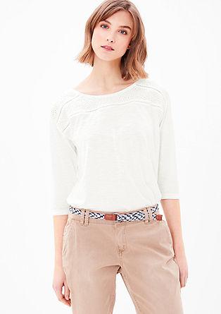 Shirt met kant, van slubgaren