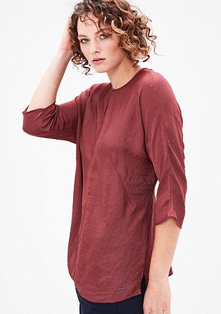 Shirt met look van zijdesatijn