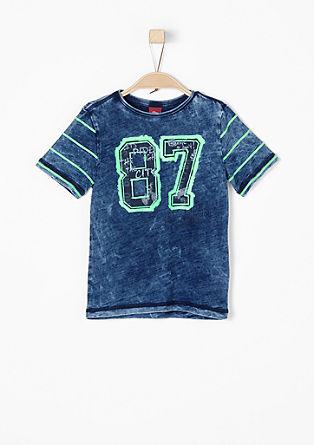 Shirt met neonkleur en garment-washed effect