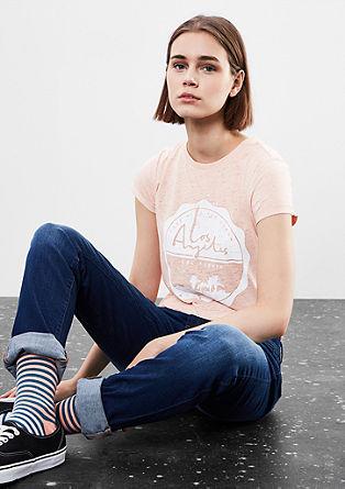 Shirt met slubgaren en tekst